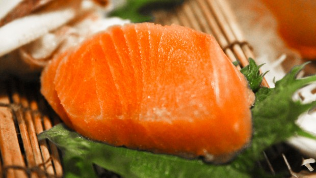 "True sashimi delicacy only offered at special eateries, ""uribe"" -- frozen, slightly dethawing salmon"