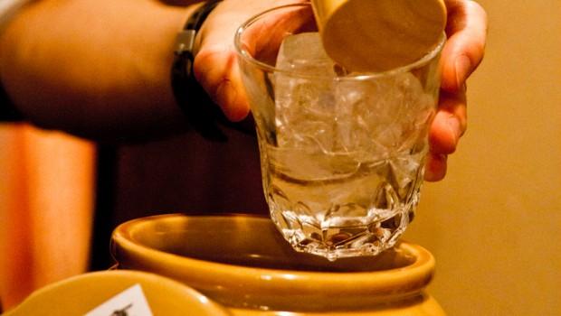 "Top-shelf booze like this rare variety of ""shochu"" -- kameshizuku -- is only found at quality izakaya like Isokin."