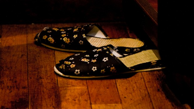 Slippers for guests in partitioned private eating areas