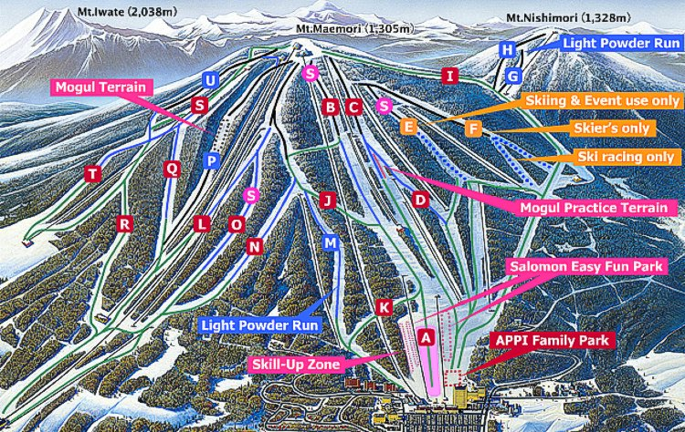 Appi Kogen Ski Map - Iwate, Tohoku, Japan - Japan Snowtrip Tips
