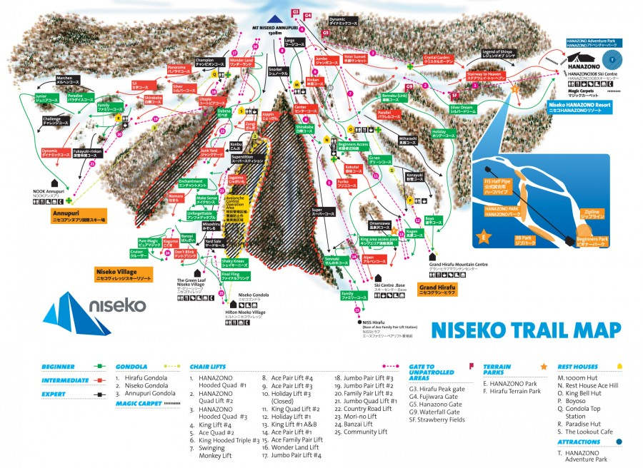 Niseko Hanazono ski trail map